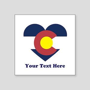 """Colorado Flag Heart Persona Square Sticker 3"""" x 3"""""""