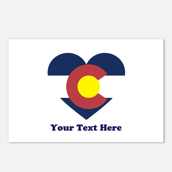 Colorado Flag Heart Perso Postcards (Package of 8)