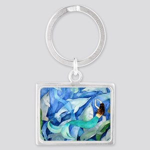 Dolphins and Mermaid party Landscape Keychain