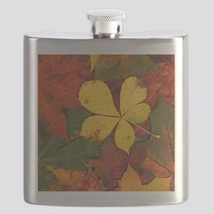 Walking on Soft Colorful Fall Leaves Flask