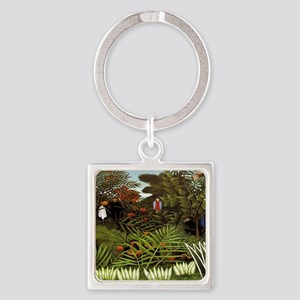 Exotic Landscape Square Keychain