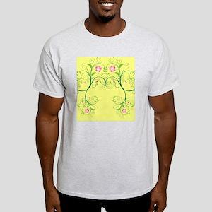 Pink Floral Swirls on Soft Yellow Light T-Shirt