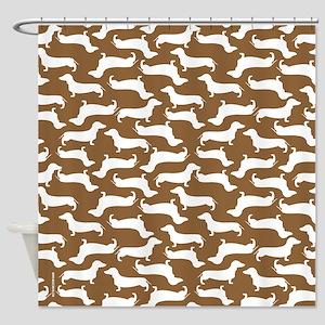 Cute Dachshund Pattern Shower Curtain