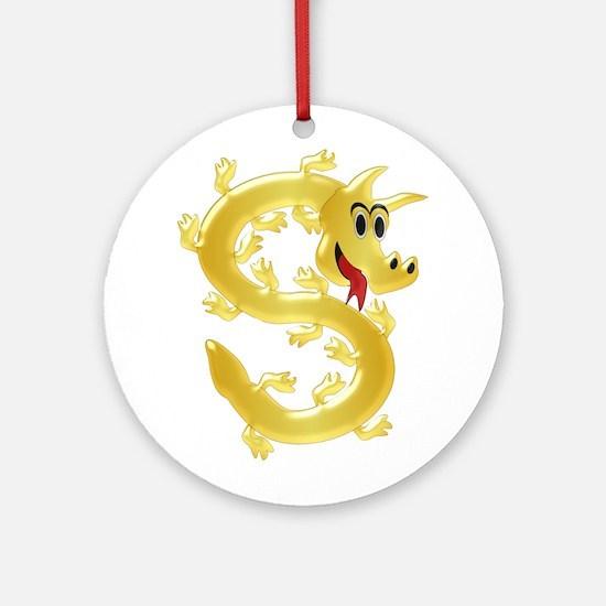 Gold Coloured Dragon Ornament (Round)