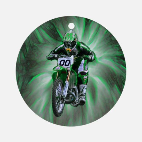 Dirt biker blasting thru green Ornament (Round)
