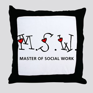 MSW Hearts (Design 2) Throw Pillow