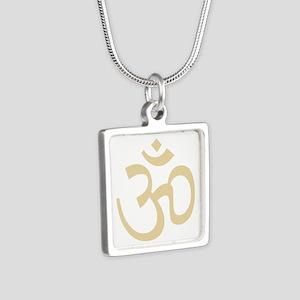 Yoga Ohm, Om Symbol, Namaste Silver Square Necklac