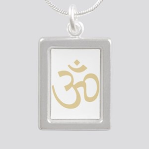 Yoga Ohm, Om Symbol, Namaste Silver Portrait Neckl