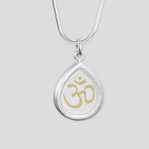 Yoga Ohm, Om Symbol, Namaste Silver Teardrop Neckl
