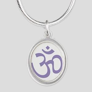 Yoga Ohm, Om Symbol, Namaste Silver Oval Necklace