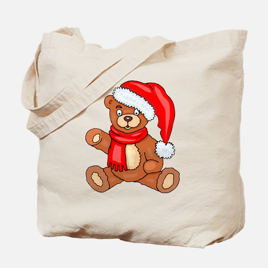 Santa Teddy Bear with Red Scarf Tote Bag