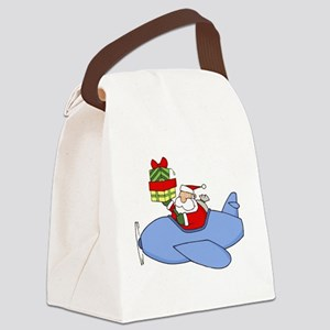Santa Claus Flying Plane to Deliv Canvas Lunch Bag