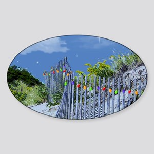 Beach Dune and Fence with Xmas Ligh Sticker (Oval)