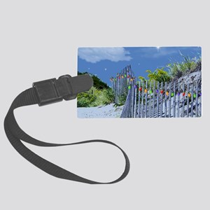 Beach Dune and Fence with Xmas L Large Luggage Tag