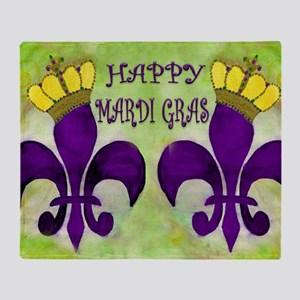 Mardi Gras Crowned Fleur de lis Throw Blanket