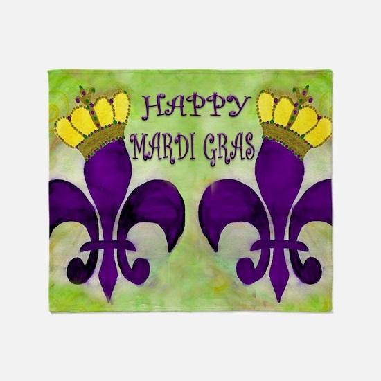 Mardi Gras Crowned Fleur de lis Throw Blanket