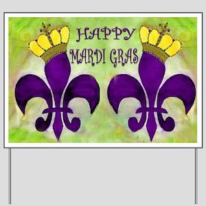 Mardi Gras Crowned Fleur de lis Yard Sign