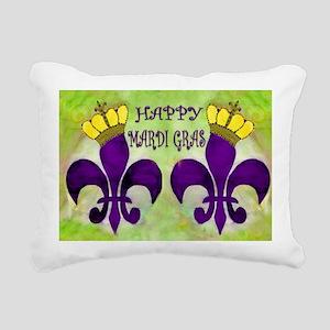 Mardi Gras Crowned Fleur Rectangular Canvas Pillow