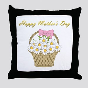 Happy Mother's Day (white daisies) Throw Pillow