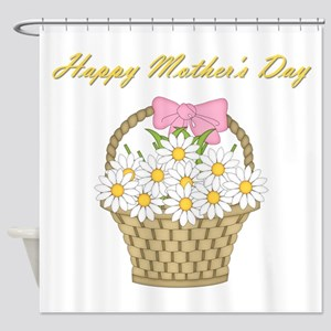 Happy Mother's Day (white daisies) Shower Curtain