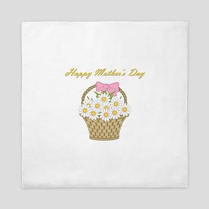 Happy Mother's Day (white daisies) Queen Duvet