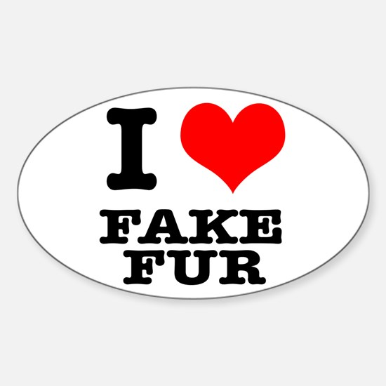 I Heart (Love) Fake Fur Oval Decal