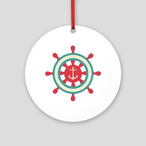 Anchor Ship Wheel Ornament (Round)