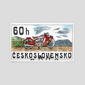1975 Czech Jawa Motorcycle Postage  3'x5' Area Rug