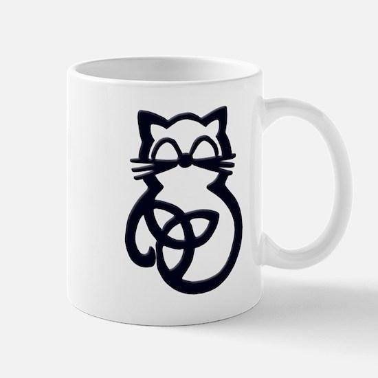 Black Trinity Knot Celtic Cat Mugs