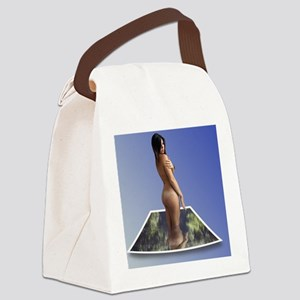 Nude Brunette Rising From Water P Canvas Lunch Bag