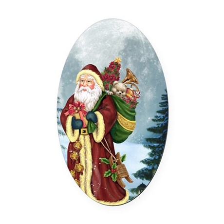 Santa Claus In The Forest Oval Car Magnet