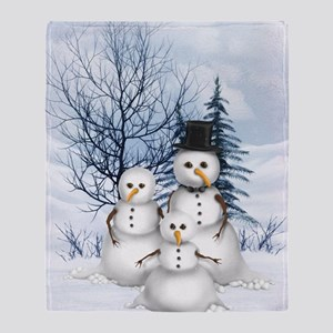 Snowman Family Throw Blanket