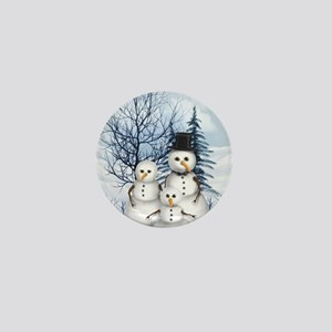 Snowman Family Mini Button
