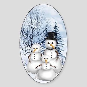 Snowman Family Sticker (Oval)