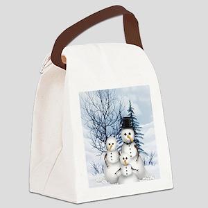 Snowman Family Canvas Lunch Bag