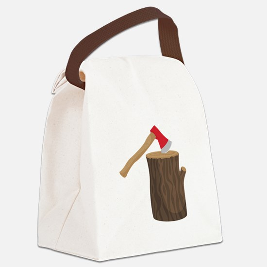 Axe With Log Canvas Lunch Bag