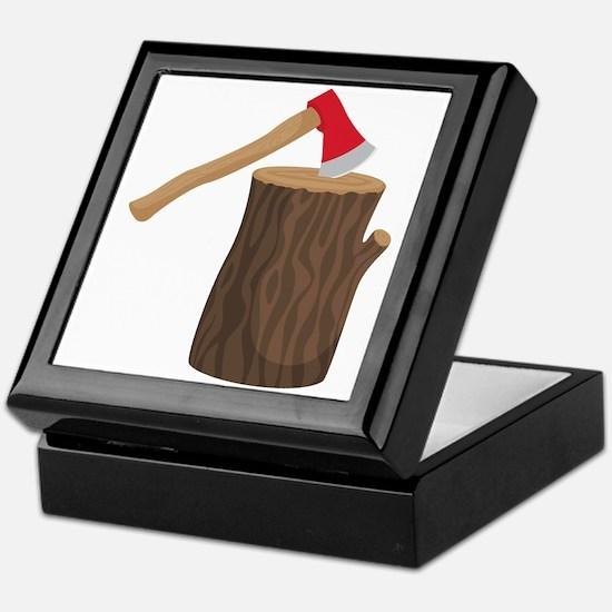 Axe With Log Keepsake Box