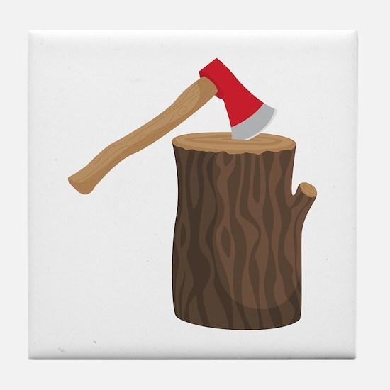 Axe With Log Tile Coaster