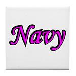 Pink and Black Navy Tile Coaster