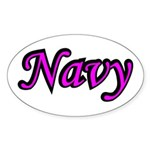 Pink and Black Navy Oval Sticker
