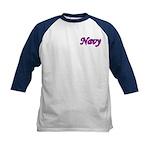 Pink and Black Navy Kids Baseball Jersey