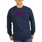 Pink and Black Navy Long Sleeve Dark T-Shirt