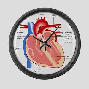 dr heart_diagram lr Large Wall Clock