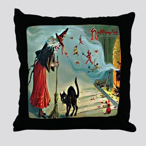 Vintage Halloween Witch Black Cat Throw Pillow