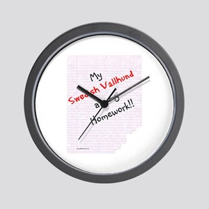 Vallhund Homework Wall Clock