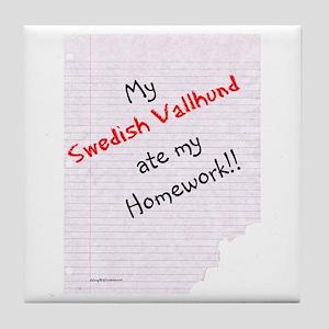 Vallhund Homework Tile Coaster