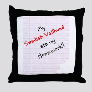 Vallhund Homework Throw Pillow