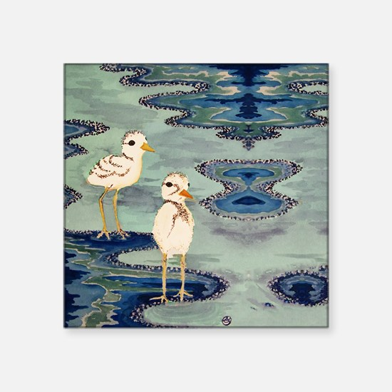 "Love Snowy Plovers Love Sho Square Sticker 3"" x 3"""
