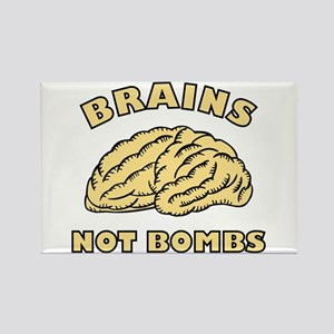 Brains Not Bombs Rectangle Magnet