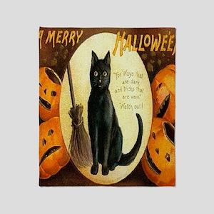 Vintage Halloween Jack O Lantern Bla Throw Blanket